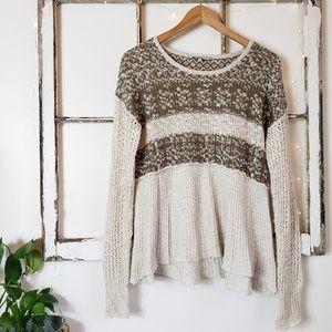 BKE • Cream & Green Light Sweater